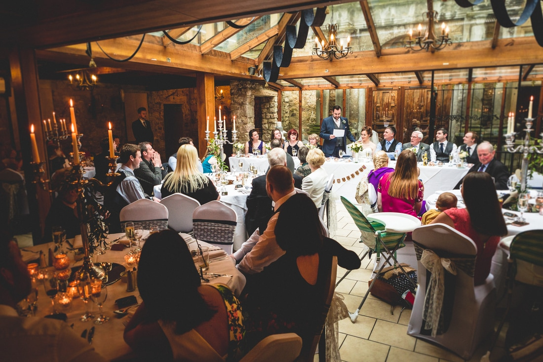 Wedding breakfast at Walworth Castle- Wedding photography by Yorkshire photographer, Mat Robinson